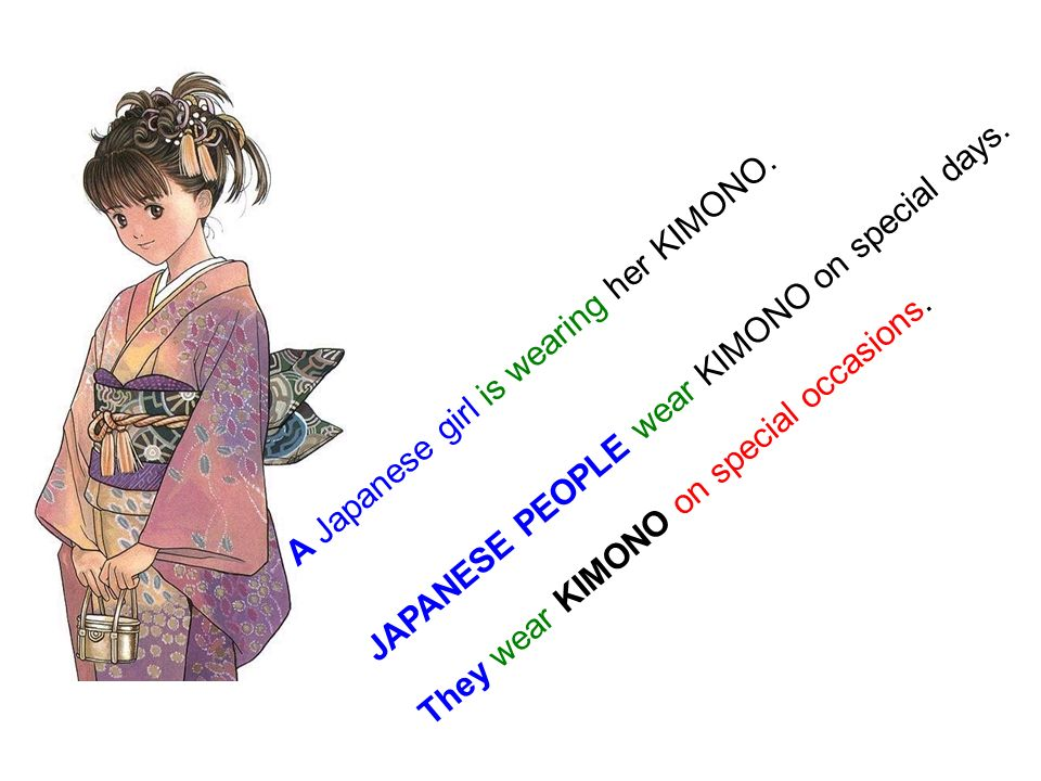 A Japanese girl is wearing her KIMONO. JAPANESE PEOPLE wear KIMONO on special days.