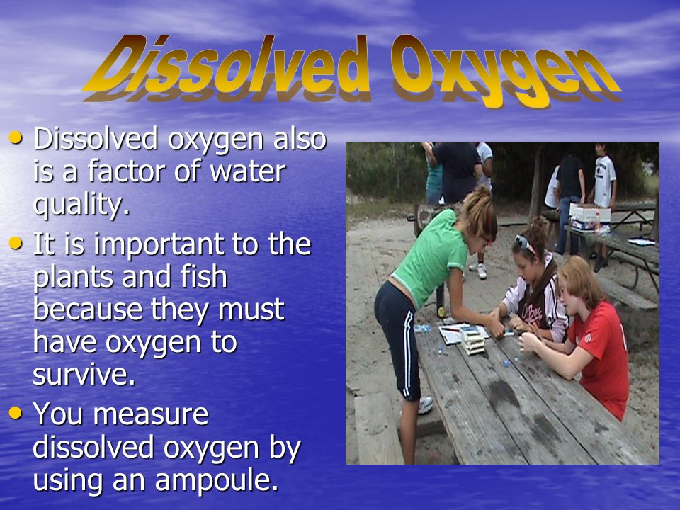 Dissolved oxygen also is a factor of water quality.