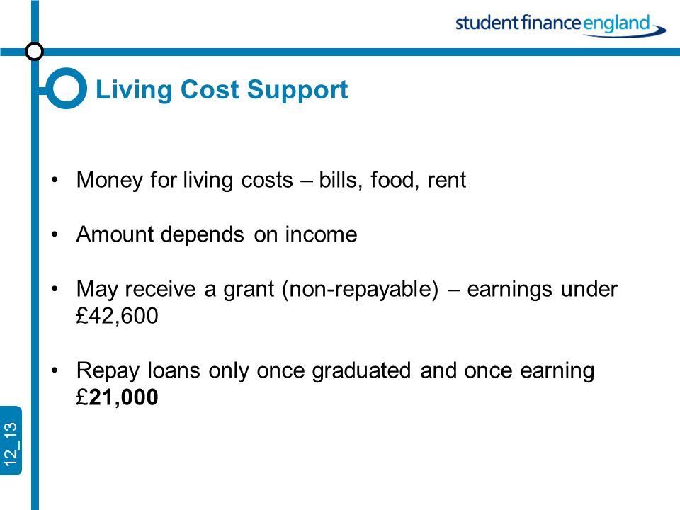12_13 Living Cost Support Money for living costs – bills, food, rent Amount depends on income May receive a grant (non-repayable) – earnings under £42,600 Repay loans only once graduated and once earning £21,000