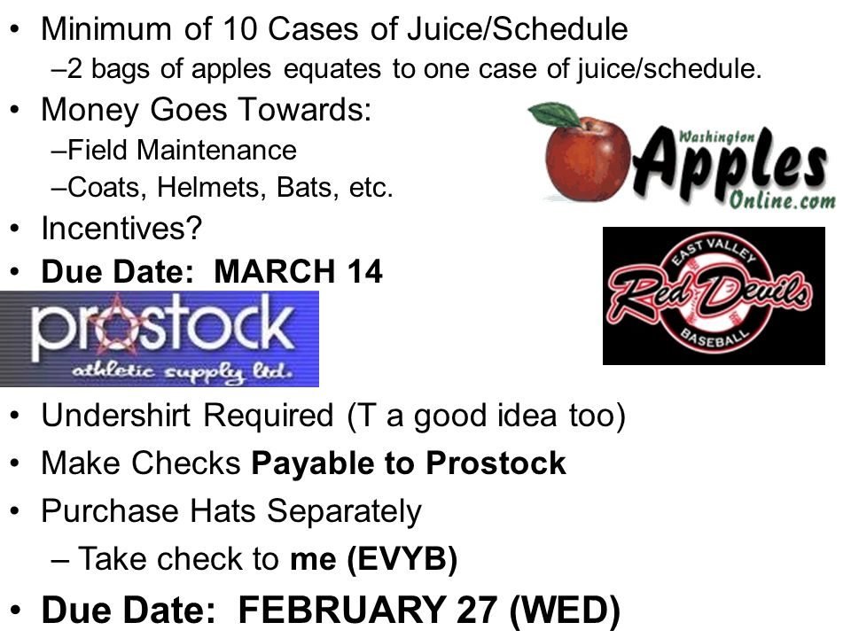 Minimum of 10 Cases of Juice/Schedule –2 bags of apples equates to one case of juice/schedule.