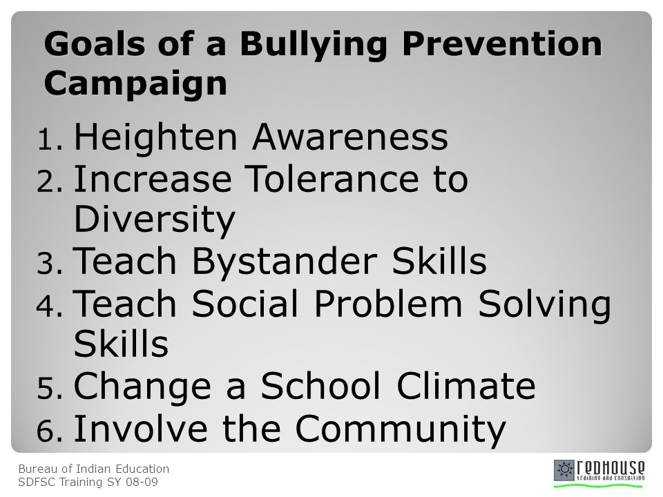 Bureau of Indian Education SDFSC Training SY Goals of a Bullying Prevention Campaign 1.