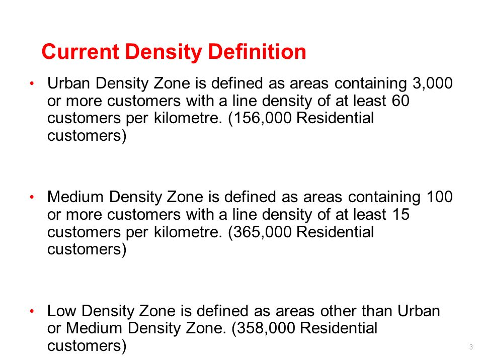 3 Current Density Definition Urban Density Zone is defined as areas containing 3,000 or more customers with a line density of at least 60 customers per kilometre.
