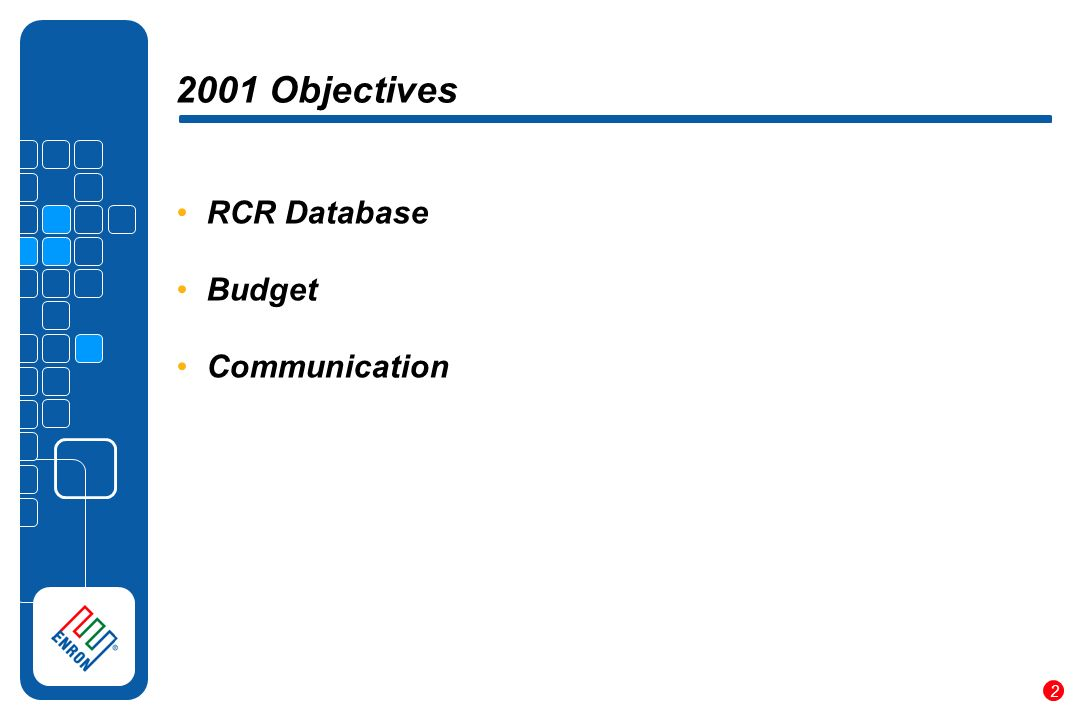 2 2001 Objectives RCR Database Budget Communication