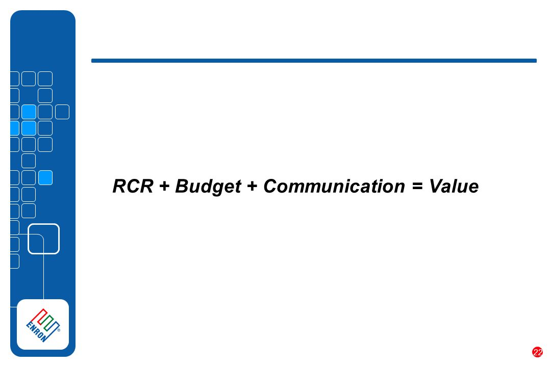 22 RCR + Budget + Communication = Value
