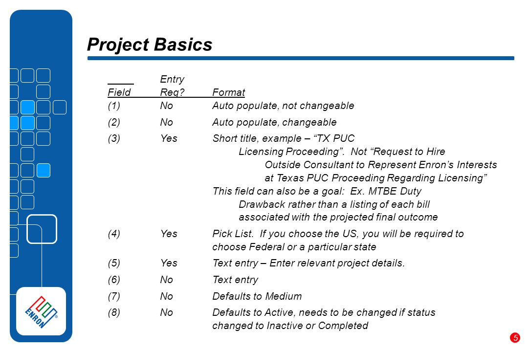 5 Project Basics Entry FieldReq Format (1)NoAuto populate, not changeable (2)NoAuto populate, changeable (3)YesShort title, example – TX PUC Licensing Proceeding.