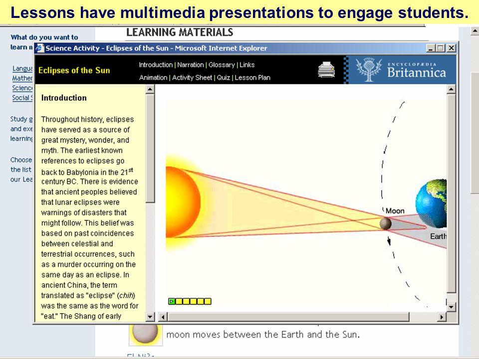 Lessons have multimedia presentations to engage students.