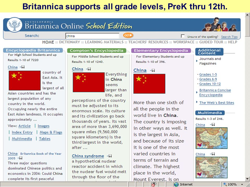 Britannica supports all grade levels, PreK thru 12th.