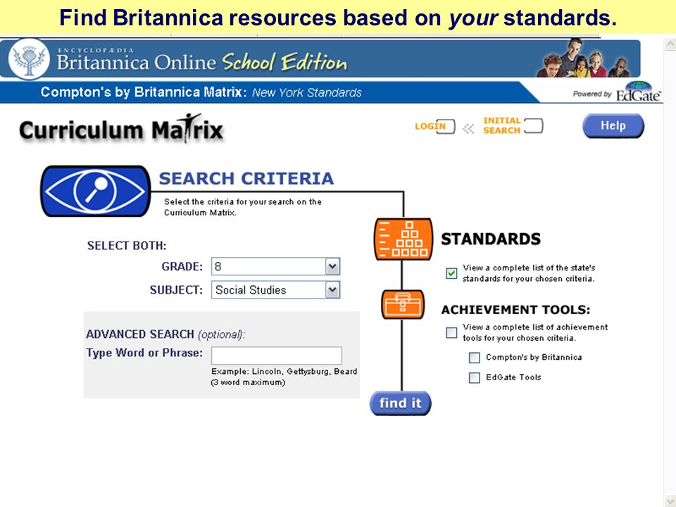 Find Britannica resources based on your standards.