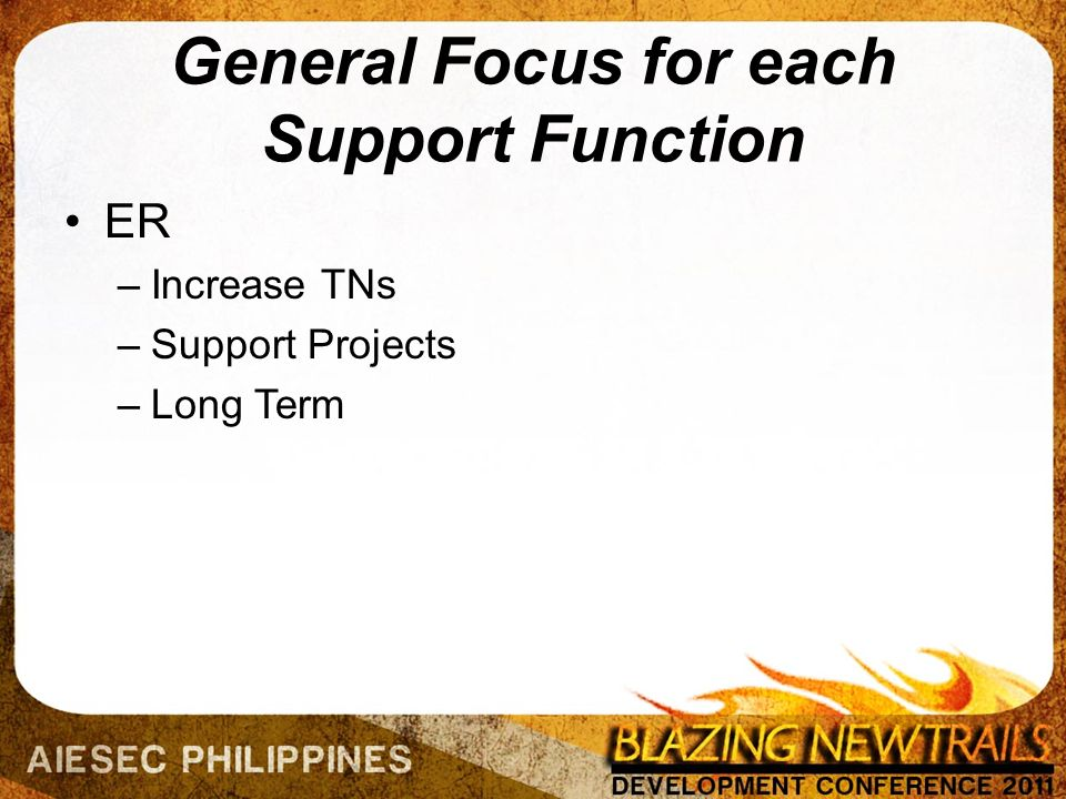 General Focus for each Support Function ER –Increase TNs –Support Projects –Long Term