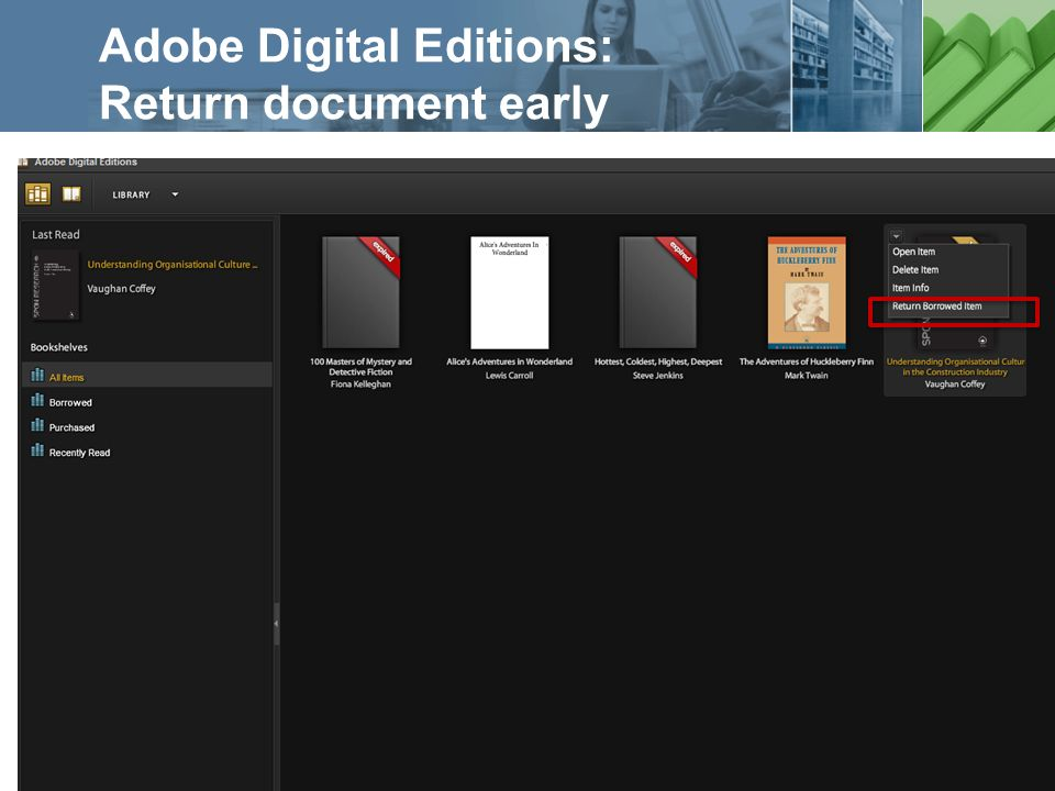 a ProQuest business Adobe Digital Editions: Return document early