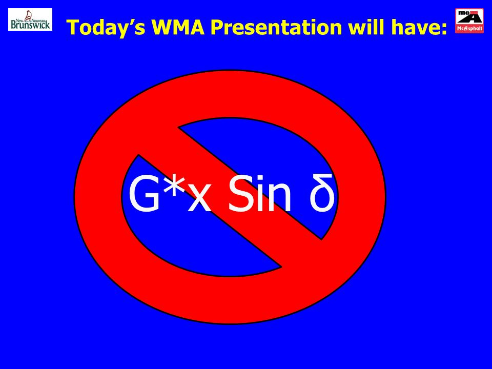 Todays WMA Presentation will have: G*x Sin δ