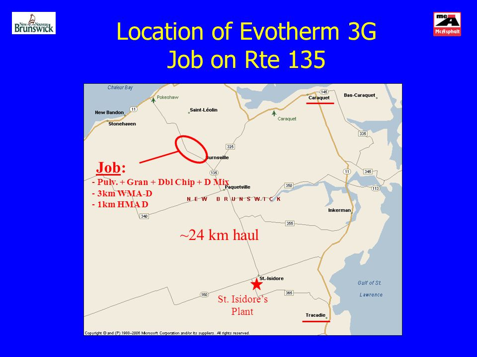 Location of Evotherm 3G Job on Rte 135 Job: - Pulv.