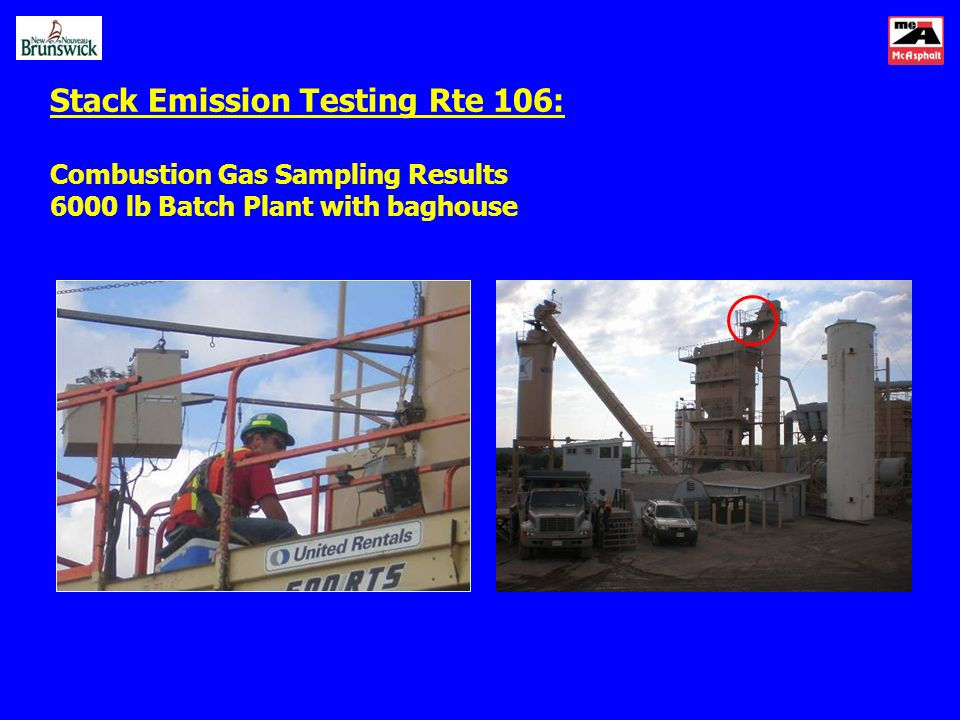 Stack Emission Testing Rte 106: Combustion Gas Sampling Results 6000 lb Batch Plant with baghouse