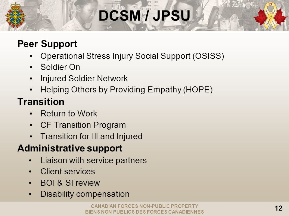 CANADIAN FORCES NON-PUBLIC PROPERTY BIENS NON PUBLICS DES FORCES CANADIENNES 12 DCSM / JPSU Peer Support Operational Stress Injury Social Support (OSISS) Soldier On Injured Soldier Network Helping Others by Providing Empathy (HOPE) Transition Return to Work CF Transition Program Transition for Ill and Injured Administrative support Liaison with service partners Client services BOI & SI review Disability compensation