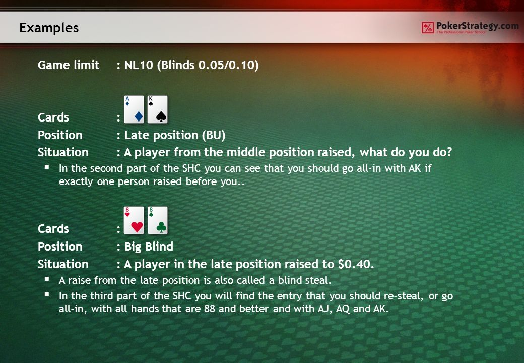 Game limit: NL10 (Blinds 0.05/0.10) Cards: Position: Late position (BU) Situation: A player from the middle position raised, what do you do.
