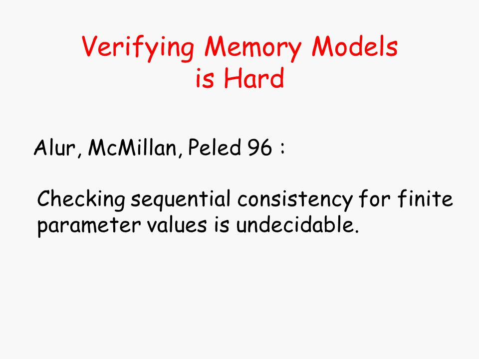 Verifying Memory Models is Hard Alur, McMillan, Peled 96 : Checking sequential consistency for finite parameter values is undecidable.