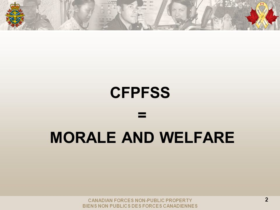 CANADIAN FORCES NON-PUBLIC PROPERTY BIENS NON PUBLICS DES FORCES CANADIENNES CFPFSS = MORALE AND WELFARE 2