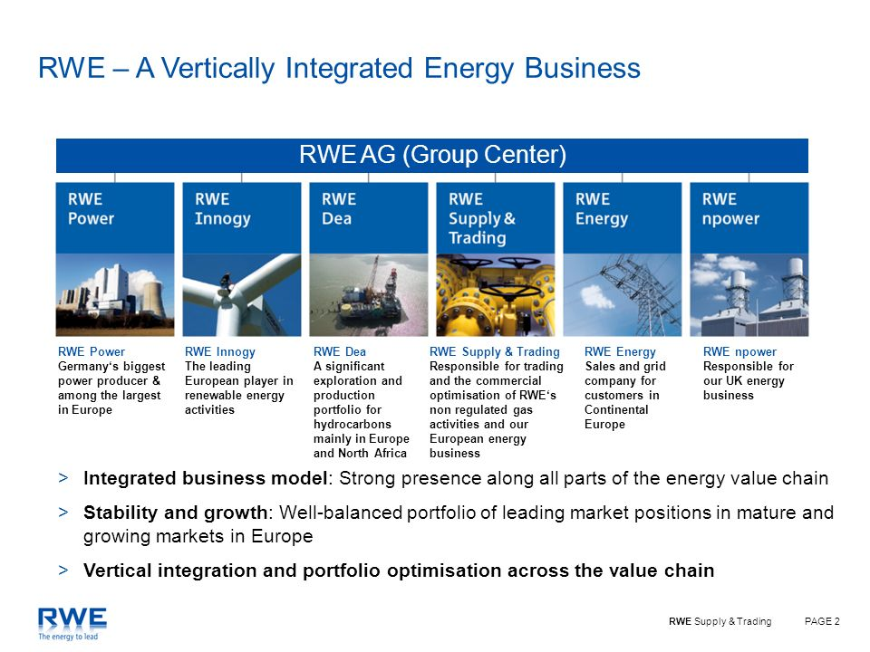 PAGE 2RWE Supply & Trading RWE AG (Group Center) RWE Power Germanys biggest power producer & among the largest in Europe RWE Innogy The leading European player in renewable energy activities RWE Dea A significant exploration and production portfolio for hydrocarbons mainly in Europe and North Africa RWE Supply & Trading Responsible for trading and the commercial optimisation of RWEs non regulated gas activities and our European energy business RWE npower Responsible for our UK energy business RWE Energy Sales and grid company for customers in Continental Europe >Integrated business model: Strong presence along all parts of the energy value chain >Stability and growth: Well-balanced portfolio of leading market positions in mature and growing markets in Europe >Vertical integration and portfolio optimisation across the value chain RWE – A Vertically Integrated Energy Business