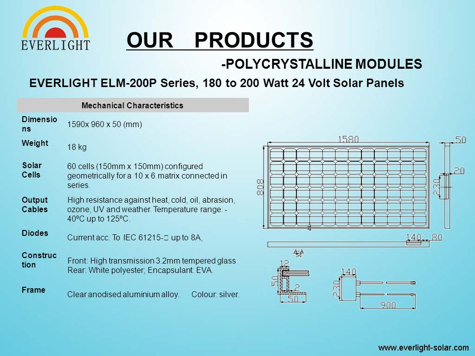 EVERLIGHT ELM-200P Series, 180 to 200 Watt 24 Volt Solar Panels Mechanical Characteristics Dimensio ns 1590x 960 x 50 (mm) Weight 18 kg Solar Cells 60 cells (150mm x 150mm) configured geometrically for a 10 x 6 matrix connected in series.