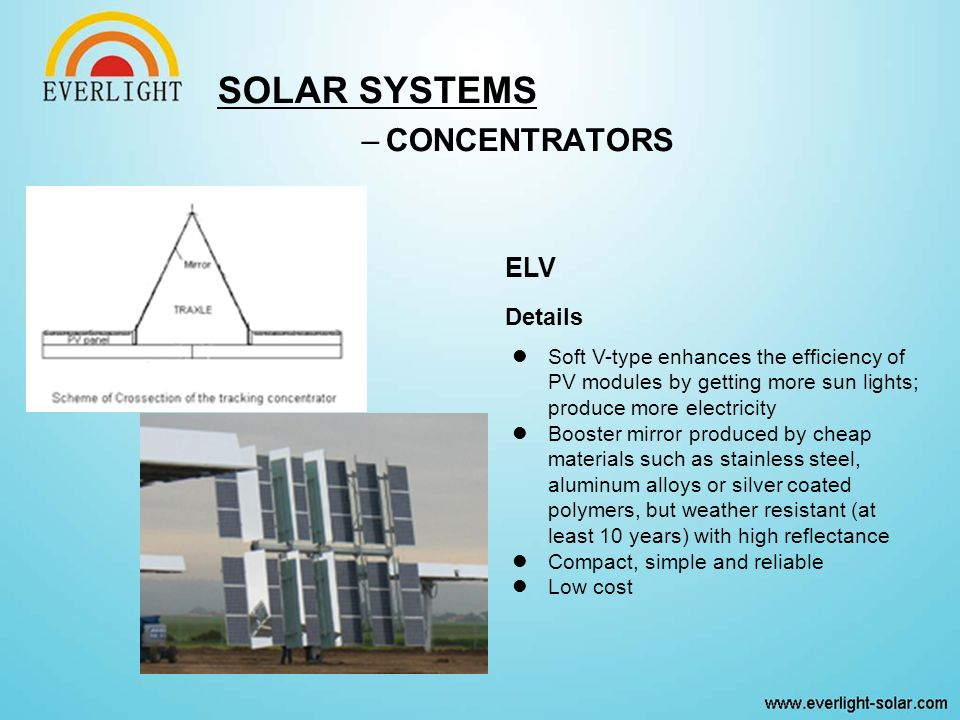 SOLAR SYSTEMS –CONCENTRATORS ELV Details Soft V-type enhances the efficiency of PV modules by getting more sun lights; produce more electricity Booster mirror produced by cheap materials such as stainless steel, aluminum alloys or silver coated polymers, but weather resistant (at least 10 years) with high reflectance Compact, simple and reliable Low cost