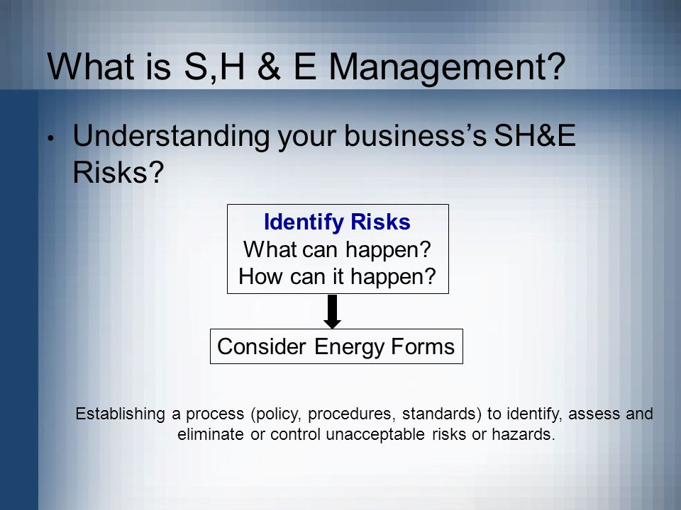 What is S,H & E Management. Understanding your businesss SH&E Risks.