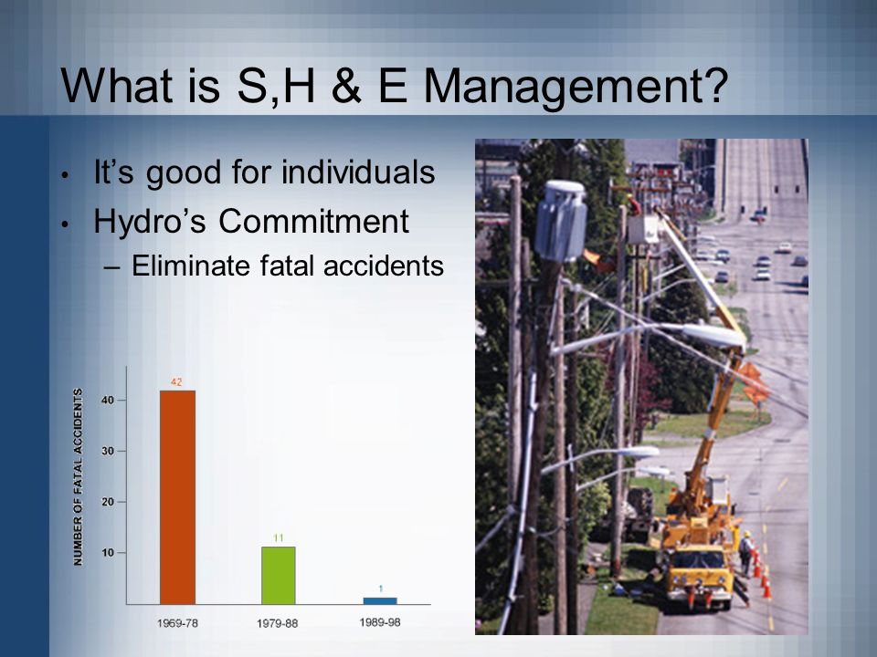 What is S,H & E Management Its good for individuals Hydros Commitment –Eliminate fatal accidents