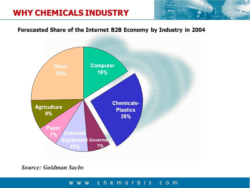 WHY CHEMICALS INDUSTRY Source: Goldman Sachs Forecasted Share of the Internet B2B Economy by Industry in 2004