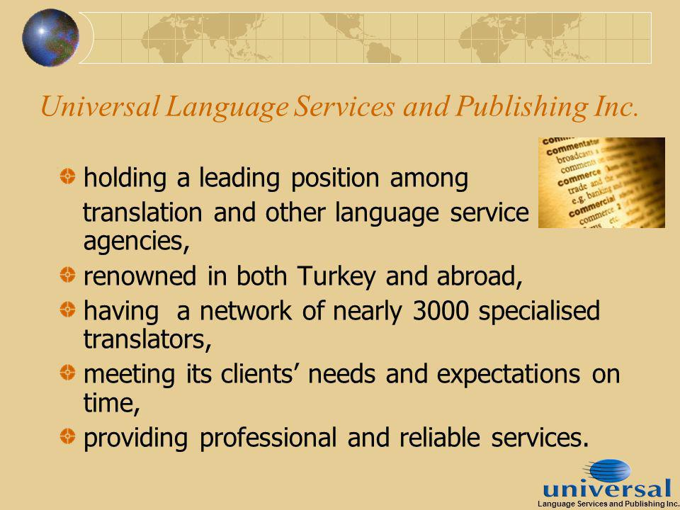 Universal Language Services and Publishing Inc.