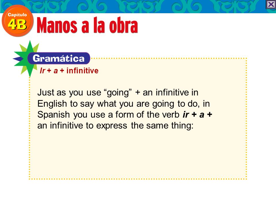 Just as you use going + an infinitive in English to say what you are going to do, in Spanish you use a form of the verb ir + a + an infinitive to express the same thing: Ir + a + infinitive