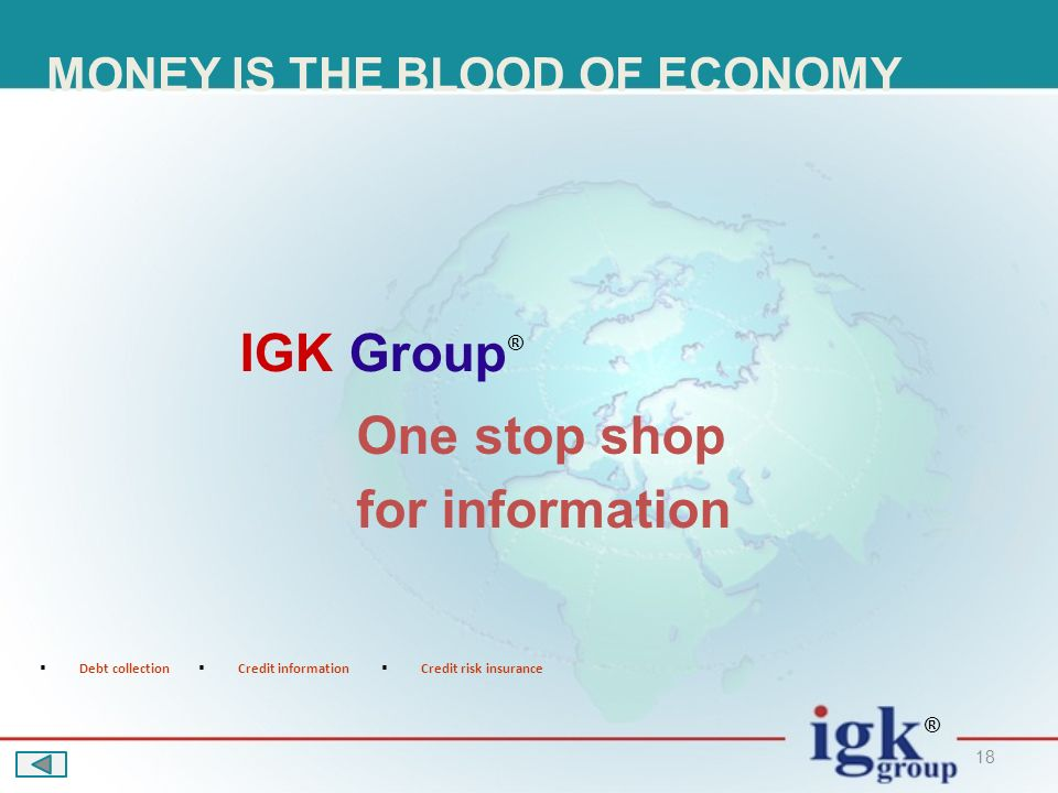 18 One stop shop for information Debt collection Credit information Credit risk insurance IGK Group ® ® MONEY IS THE BLOOD OF ECONOMY
