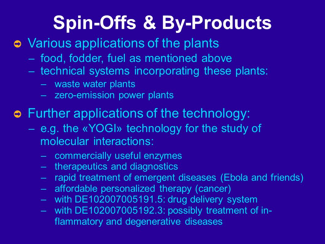 Spin-Offs & By-Products Various applications of the plants – food, fodder, fuel as mentioned above – technical systems incorporating these plants: – waste water plants – zero-emission power plants Further applications of the technology: – e.g.