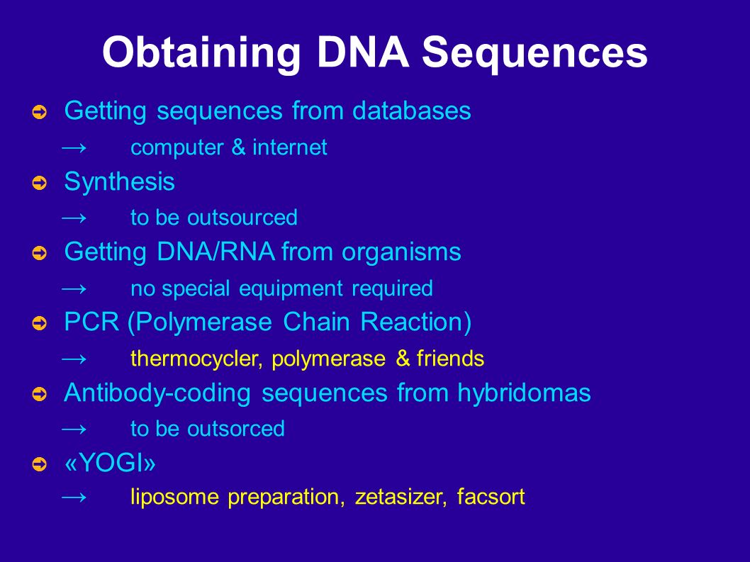 Obtaining DNA Sequences Getting sequences from databases computer & internet Synthesis to be outsourced Getting DNA/RNA from organisms no special equipment required PCR (Polymerase Chain Reaction) thermocycler, polymerase & friends Antibody-coding sequences from hybridomas to be outsorced «YOGI» liposome preparation, zetasizer, facsort