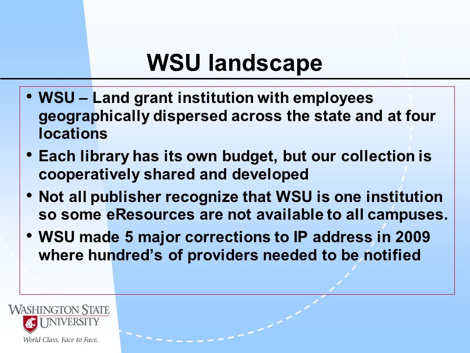 WSU landscape WSU – Land grant institution with employees geographically dispersed across the state and at four locations Each library has its own budget, but our collection is cooperatively shared and developed Not all publisher recognize that WSU is one institution so some eResources are not available to all campuses.