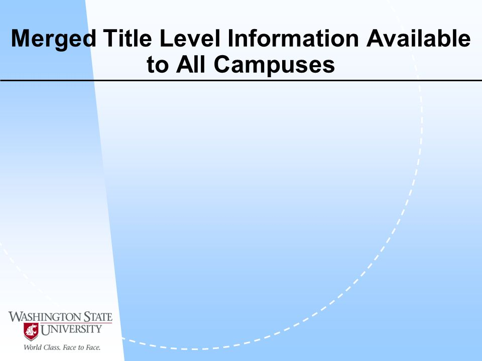 Merged Title Level Information Available to All Campuses