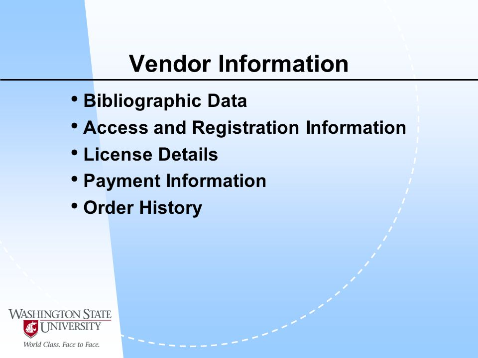 Vendor Information Bibliographic Data Access and Registration Information License Details Payment Information Order History