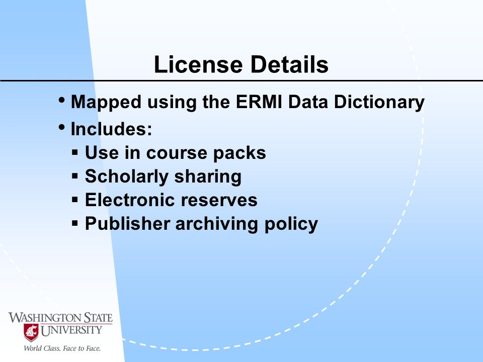 License Details Mapped using the ERMI Data Dictionary Includes: Use in course packs Scholarly sharing Electronic reserves Publisher archiving policy