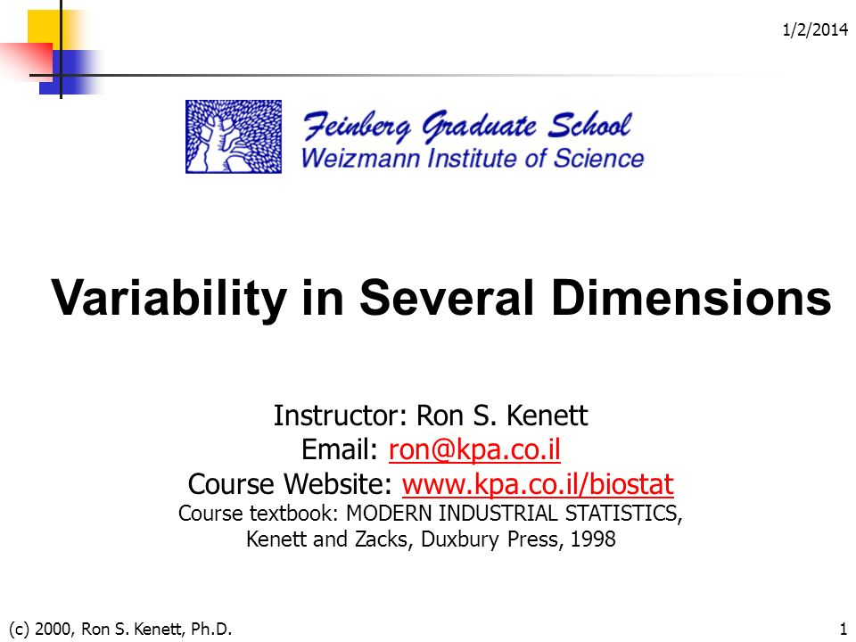1/2/2014 (c) 2000, Ron S. Kenett, Ph.D.1 Variability in Several Dimensions Instructor: Ron S.