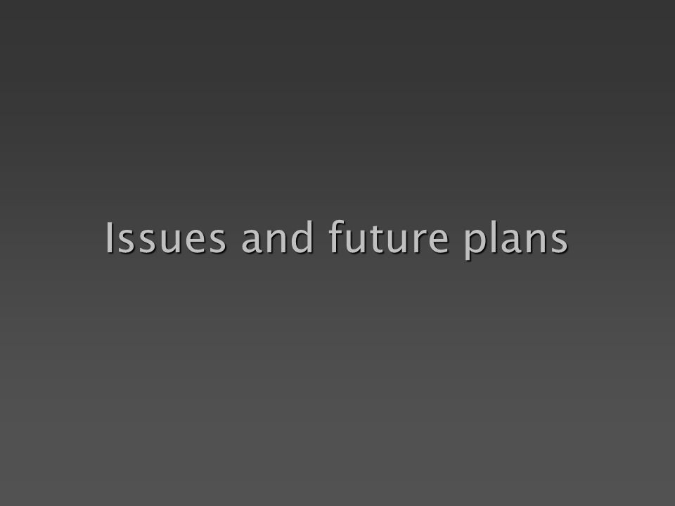 Issues and future plans