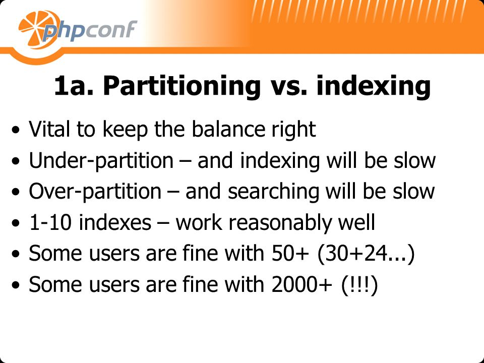 1a. Partitioning vs.