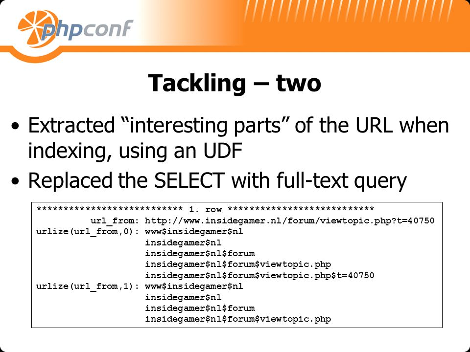 Tackling – two Extracted interesting parts of the URL when indexing, using an UDF Replaced the SELECT with full-text query *************************** 1.