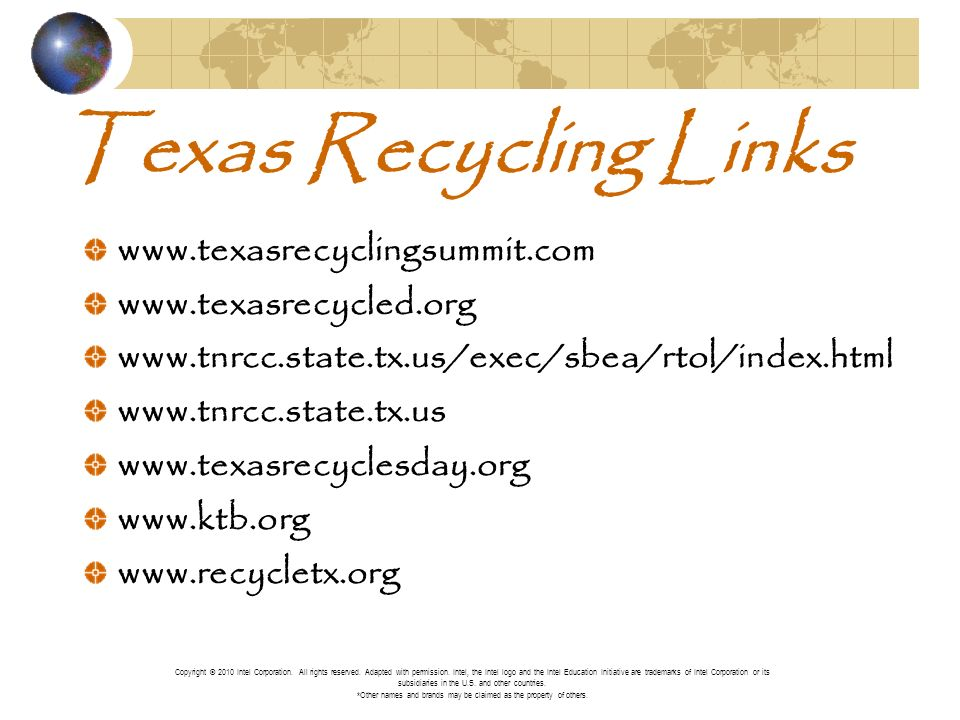 Texas Recycling Links Copyright © 2010 Intel Corporation.