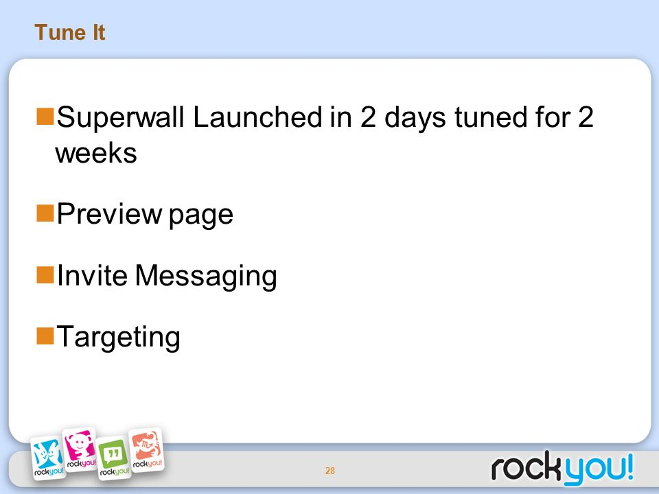 28 Tune It Superwall Launched in 2 days tuned for 2 weeks Preview page Invite Messaging Targeting