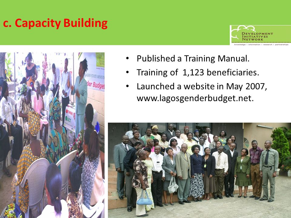 c. Capacity Building Published a Training Manual.