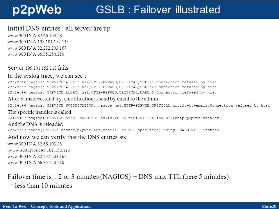 p2pWeb Slide20Peer-To-Peer : Concept, Tools and Applications GSLB : Failover illustrated Initial DNS entries : all server are up www 300 IN A www 300 IN A www 300 IN A www 300 IN A Server fails In the syslog trace, we can see : 22:22:46 nagios: SERVICE ALERT: ns1;HTTP-P2PWEB;CRITICAL;SOFT;1;Connection refused by host 22:23:47 nagios: SERVICE ALERT: ns1;HTTP-P2PWEB;CRITICAL;SOFT;2;Connection refused by host 22:24:46 nagios: SERVICE ALERT: ns1;HTTP-P2PWEB;CRITICAL;HARD;3;Connection refused by host After 3 unsuccessfull try, a notification is send by  to the admin 22:24:46 nagios: SERVICE NOTIFICATION: nagios;ns1;HTTP-P2PWEB;CRITICAL;notify-by- ;Connection refused by host The specific handler is called 22:24:47 nagios: SERVICE EVENT HANDLER: ns1;HTTP-P2PWEB;CRITICAL;HARD;3;http_p2pweb_handler And the DNS is reloaded 22:24:47 named[17379]: master/p2pweb.net.zone:1: no TTL specified; using SOA MINTTL instead And now we can verify that the DNS entries are www 300 IN A ;www 300 IN A www 300 IN A www 300 IN A Failover time is : 2 or 3 minutes (NAGIOS) + DNS max TTL (here 5 minutes) = less than 10 minutes