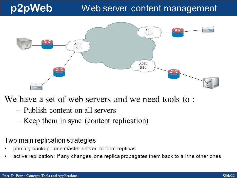 p2pWeb Slide22Peer-To-Peer : Concept, Tools and Applications Web server content management We have a set of web servers and we need tools to : –Publish content on all servers –Keep them in sync (content replication) Two main replication strategies primary backup : one master server to form replicas active replication : if any changes, one replica propagates them back to all the other ones ADSL ISP 1 ADSL ISP 2 ADSL ISP 3