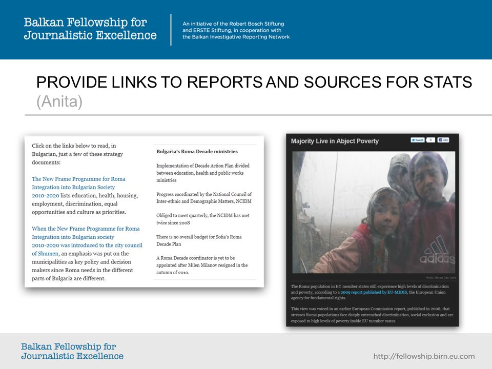PROVIDE LINKS TO REPORTS AND SOURCES FOR STATS (Anita)