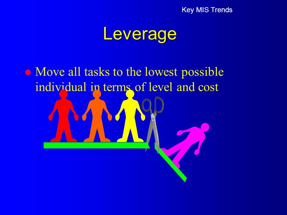 l Move all tasks to the lowest possible individual in terms of level and cost Key MIS Trends Leverage