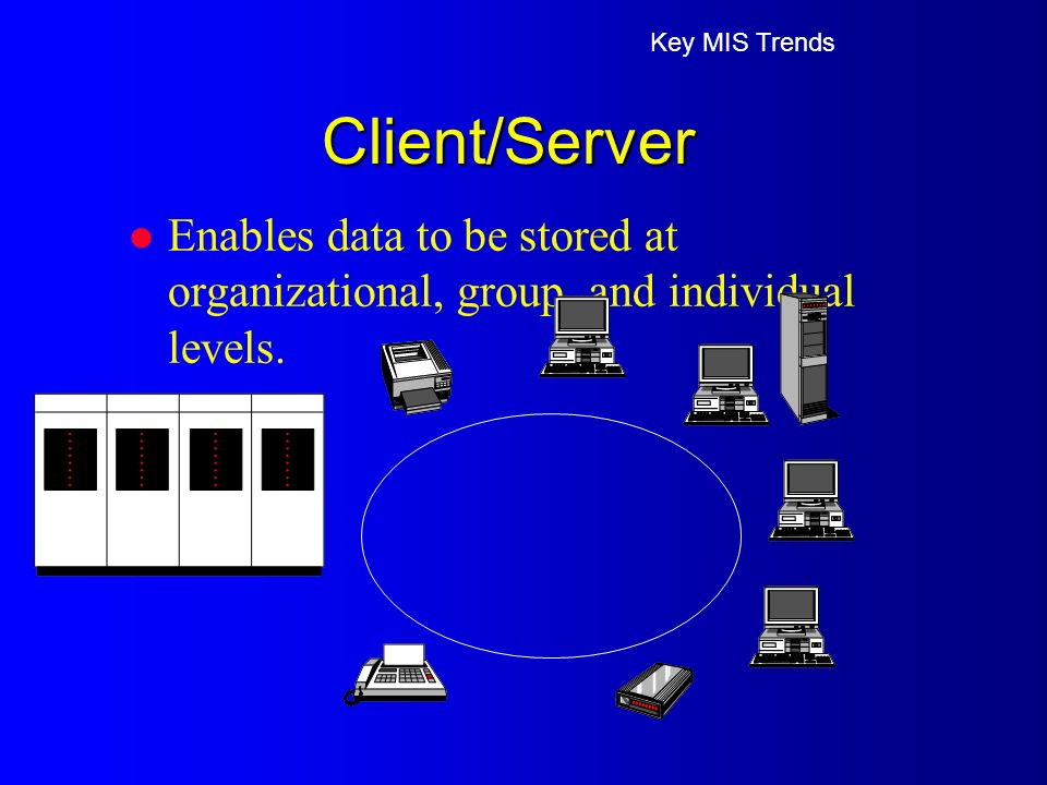 Client/Server l Enables data to be stored at organizational, group, and individual levels.
