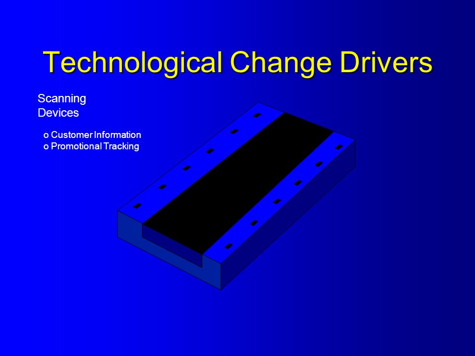 Technological Change Drivers Scanning Devices o Customer Information o Promotional Tracking