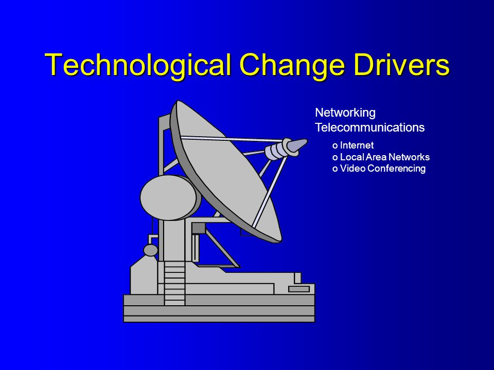 Technological Change Drivers Networking Telecommunications o Internet o Local Area Networks o Video Conferencing